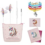 DTMNEP Unicorn Gifts for Girls - Earbuds Earphones for Kids Compatible with Apple Android with Rainbow Unicorn Bracelet Wristband/Headphone Case/Gift Card/Gift Box, and Back to School Supply for Kids