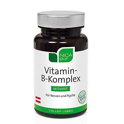 NICApur Vitamin-B-Komplex aktiviert I alle 8 B-Vitamine hochdosiert I mit den Vitaminen B1, B2, Niacin, Biotin, Pantothensäure, B6, B12 und Folsäure I Reinsubstanz ohne Zusatzstoffe I 60 Kapseln