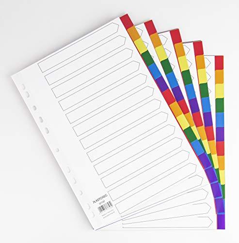 5er Set 12-teiliges Register/Trennblätter aus buntem stabilem PP, DIN A4 praktischem Deckblatt aus stabilem Papier zum Beschriften. Trenn-Blätter für die Ordner-Organisation im Büro
