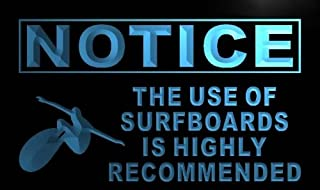 ADVPRO m727-b Notice Use of Surfboards Recommended Neon Sign