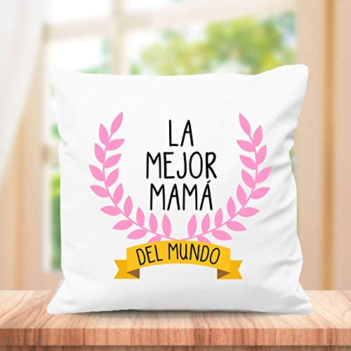 SUPER STICKER Cojín Cuadrado Personalizado, para el Mejor mamá del Mundo, Regalo día de la Madre (m4)