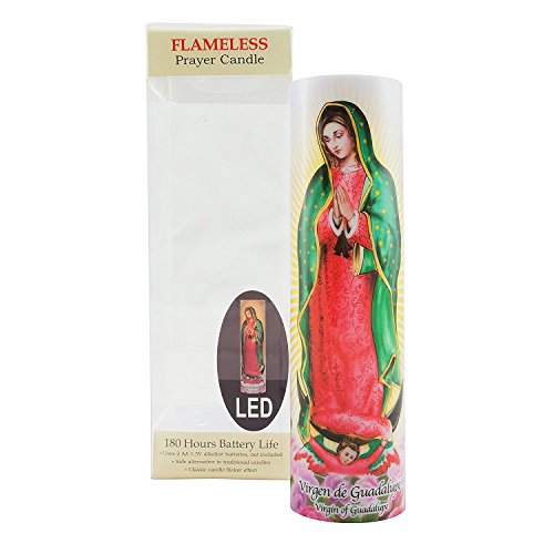 Virgin of Guadalupe Flameless LED Prayer Candle, Unique Religious Decoration, Gift Idea for Mothers Day, Birthday, or Any Holiday