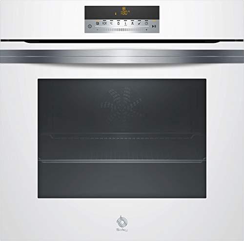Horno Balay Cristal Blanco  - Modelo 3HB5888B0 |  Función Auto Chef con 40 recetas, 12 funciones de cocción, Limpieza automática Pirólisis y Aqualisis, Aire caliente 3D Profesional, Calentamiento rápido, etc