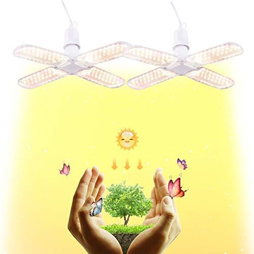 LED植物育成ライト 植物育成用 水耕栽培ライト フルスペクトル E26-口金 暖色系 角度調整可能 日照不足解消 室内栽培用 多肉植物育成 観葉植物 家庭菜園 水耕栽培など適合する 植物成長を促進する (120W) (120W 四葉*2)