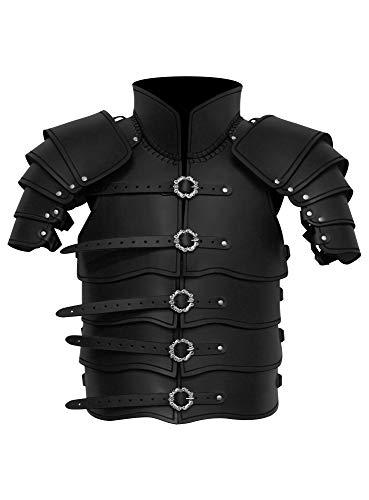 Andracor - Lorica Segmentata - Schwarz - Lamellen Rüstung aus echtem Leder mit integrierten Schultern und viel Bewegungsfreiheit für LARP, Cosplay, Verkleidung und Mittelalter
