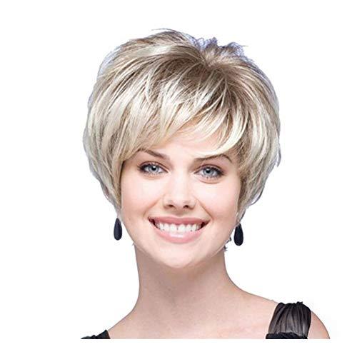 Lengte 12 Inches Light blond natuurlijke krullen pruiken, Hoge Temperatuur Fiber Kort Haar Pruik for Vrouwen partij of Daily Dress