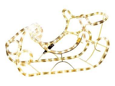 Weihnachtsbeleuchtung 3D-LED Schlitten mit warmweissem Licht für Außen geeignet ca 34 x 50 cm hoch