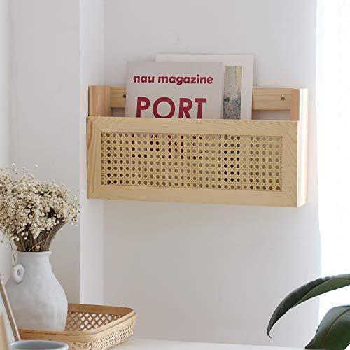 FIRADE - Revistero de madera con rejilla de ratán PE, tamaño 43,9 x 10,16 x 23,9 cm, soporte para archivos, para entrada, sala de estar, sala de espera, habitación de los niños, oficina
