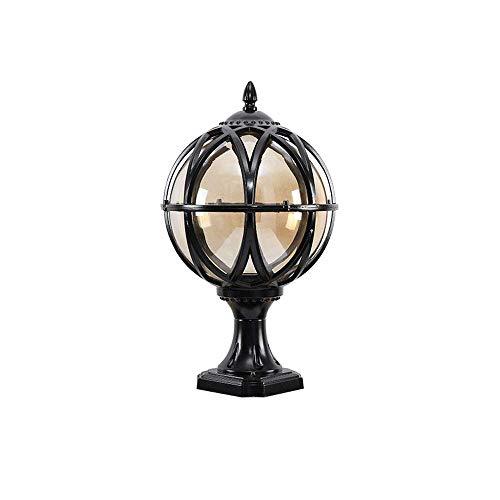 Traditionele Globe glazen bol E27 tuin zuil lamp Europese antieke retro buiten IP54 waterdicht gegoten aluminium paal lichthof pad deur landschap decoratieve zuil licht lsmaa