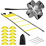 Buluri Fitness Agility Ladder & Sport Speed Training Set - 2 Agility Ladders, 12 Disc Cones, 4 Metal Hooks,1Resistance Parachute,1Carry Bag – Exercise Workout Equipment for Outdoor Workout