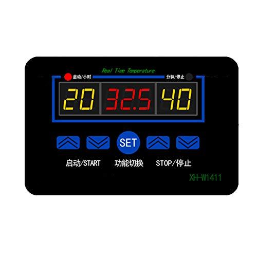 KingBra XH-W1411 - Monitor digital de temperatura (1 pieza, 220 V, multifuncional, interruptor de control de termostato, 10 A, con controlador de temperatura digital LED), color negro