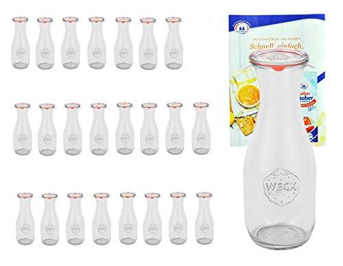 MamboCat 16er Set Weck Gläser 530ml 1/2 Liter Saftflasche u. 16 Glasdeckeln, 16 Einkochringen, 32 Klammern inkl. Gelierzauber Rezeptheft I Weck Glasflasche Einweckflaschen für Säfte Saucen Öle UVM