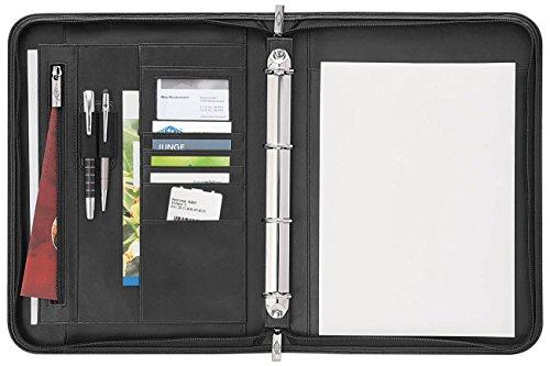Wedo 586001 Konferenzmappe Accento DIN A4 aus Kunstleder, Reißverschluss, mehrere Fächer innen & Außen Gummizugschlaufen, 4-Ring-Mechanik inklusiv Schreibblock, Schwarz
