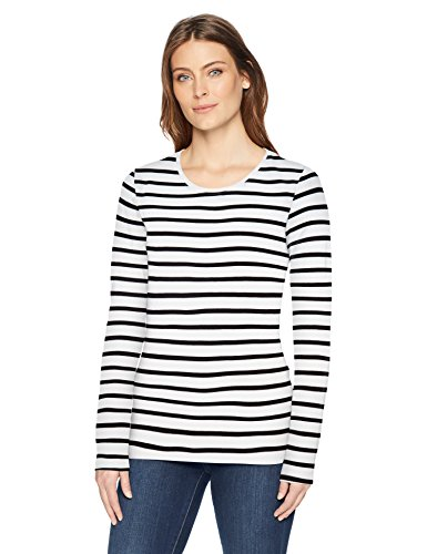 Amazon Essentials Long-Sleeve Patterned novelty-t-shirts, White/Black Stripe, US S (EU S - M)