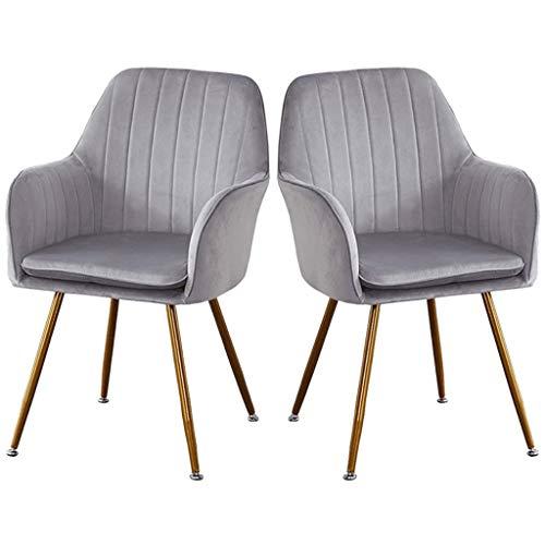 zyy Sillas de cocina retro sillas de cocina, asiento y respaldo de terciopelo suave con patas de metal cojines Sillones para comedor y sala de estar silla de escritorio (color: gris, tamaño: 2 piezas)