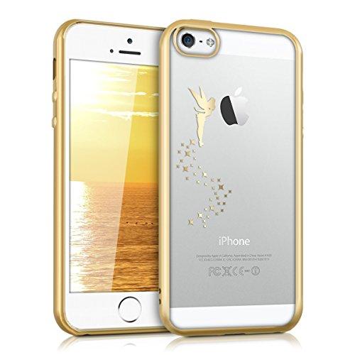 kwmobile Cover Compatibile con Apple iPhone SE (1.Gen 2016) / 5 / 5S - Custodia Protettiva Cover in Silicone TPU Cristallo Trasparente - Back Cover Case Cellulare Fatina Oro/Trasparente