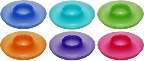 idea-station NEO Kunststoff-Eierbecher 6 Stück, 9.5 cm, bunt, mehrweg, bruchsicher, rund, stapelbar, überlaufschutz, Plastik-Eierbecher, Eierbecher-Set, Eier-Halter, Camping, Kinder