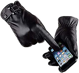 VICSPORT Men's Touchscreen Texting Leather Gloves Winter Warm Black Soft Gloves Cashmere Lining