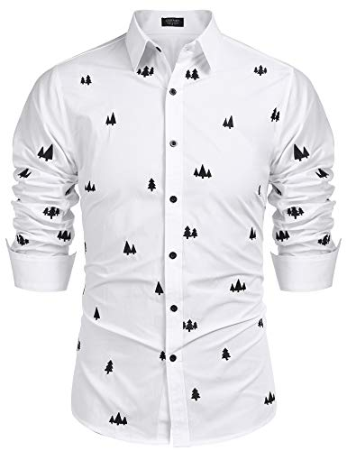 COOFANDY Christmas Mens Printed Dress Shirts Long Sleeve Regular Fit Casual Button Down Shirt (White XL)