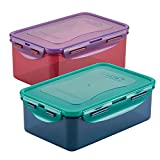 LOCK & LOCK Umweltfreundliches Lebensmittelbehälter-Set, BPA-frei, spülmaschinen-und gefriergeeignet, Polypropylen, Zufällige Farbauswahl, Set of 3, 2X 350ml and 470ml
