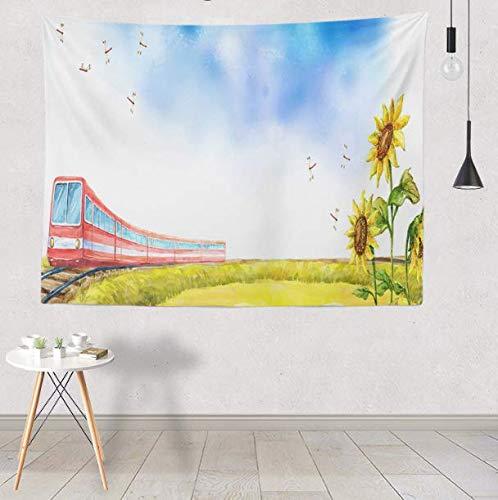 RKZM Schöne Sonnenblume hängende Tapisserie Daisy Butterfly Scenic Wandkunst Bild Red Train Rainbow Starfish Decor Tagesdecke Tapisserie 230X150Cm