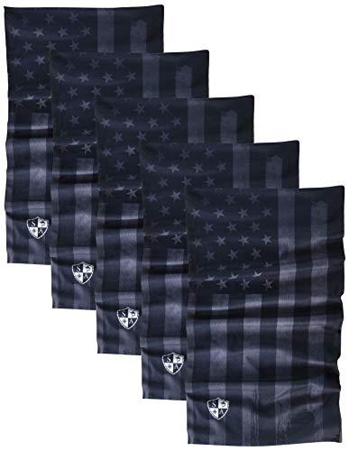 S A - UV Face Shield 5 Pack - Multipurpose Neck Gaiter, Elastic Face Mask for Men and Women (Blackout American Flag)