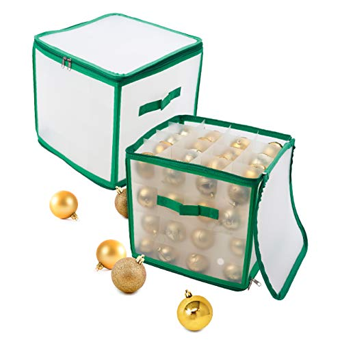 THE TWIDDLERS Christmas Bauble Storage Bag| Sturdy 4 Layered Box, Can Store Up to 64 Baubles| Xmas Tree Ornaments & Decorations Storage Container.