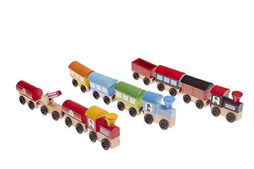 Gerileo Lote de Tres Trenes de Madera de Juguete imantados con Bolsa de Transporte para niños y niñas - Montessori - Diversión y Creatividad