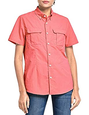 BALEAF Women's Short Sleeve Hiking Shirt UPF 50+ for Safari Fishing Camping Travelling Quick Dry Hot Pink M