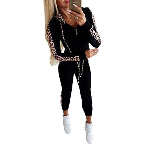 Mxssi Tuta Donna Casual Stampa Leopardata Sport Palestra Manica Lunga Outwear Set Pantaloni Top Pantaloni Pantaloni
