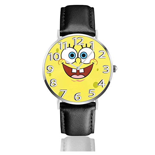 Spongebob Squarepants Reloj Amarillo Unisex Easy Reader de Cuarzo analógico de 38 mm con Correa de Cuero