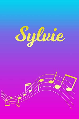 Sylvie: Sheet Music Note Manuscript Notebook Paper – Pink Blue Gold Personalized Letter S Initial Custom First Name Cover – Musician Composer … Notepad Notation Guide – Compose Write Songs