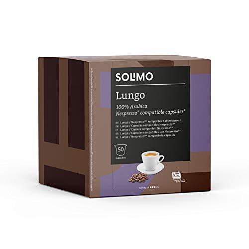 Marca Amazon - Solimo Nespresso Compatible Lungo Cápsulas - Certificada UTZ - 100 Cápsulas (2 Paquetes x 50)