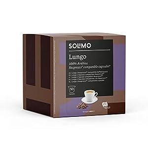 Marca Amazon - Solimo Cápsulas Lungo, compatibles con Nespresso - café certificado UTZ, 100 cápsulas (2 x 50)
