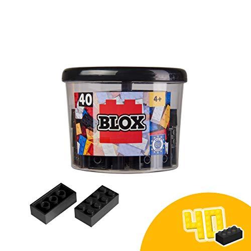 Simba 104118895 Blox, 40 schwarze Bausteine Made in Italy, 8er Steine, inkl. Aufbewahrungsdose, höchste Qualität und 100 Prozent kompatibel mit bekannten Spielsteinen
