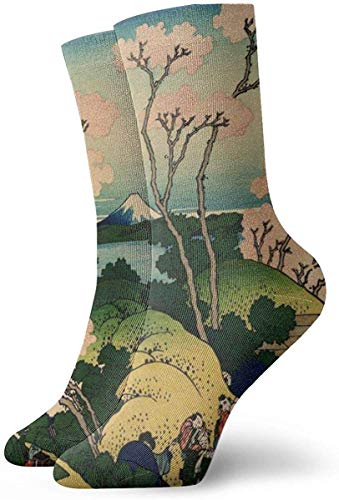 DLing Hokusai Japan Ink Kirschblüte Mount Fuji Unisex Spaß Cool 3D-Druck Bunte Athletic Sport Neuheit Crew Tube Socken