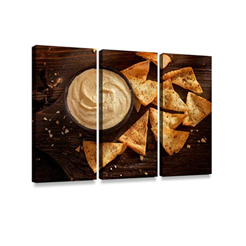 Hummus with Baked Pita Chips Print On Canvas Wall Artwork Modern Photography Home Decor Unique Pattern Stretched and Framed 3 Piece