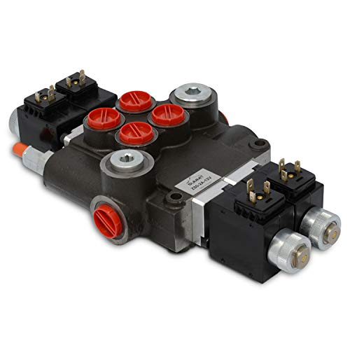 Hydraulic Monoblock Solenoid Directional Control Valve, Double Acting, 2 Spool, 21 GPM, 12V DC