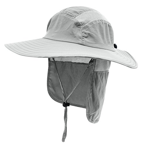 Home Prefer Mens UPF 50+ Sun Protection Cap Wide Brim Fishing Hat with Neck Flap (Light Gray)