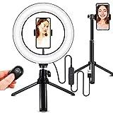 Hotsilai Anillo de luz LED con trípode de 10 pulgadas elfie Stick Disparador remoto Bluetooth 3 modos de luz para Tiktok YouTube Live Stream Selfie Retrato Volg Maquillaje