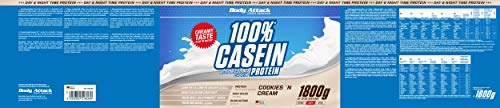 Body Attack 100% Casein Protein Cookies & Cream, 1er Pack (1 x 1.8 kg) - 7