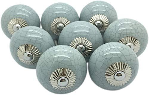 Juego de 8 pomos redondos de cerámica para puerta de armario o cajón, estilo vintage, de cerámica, pintados a mano
