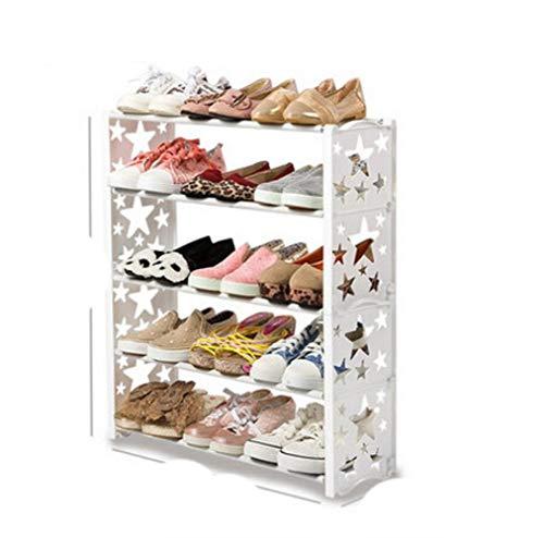 Simple multi-capas estrella combinación zapatos estante breve zapato estante de almacenamiento moderno zapato estante-5 capa estrella blanca