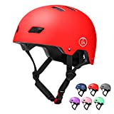 67i 自転車 ヘルメット 子供用 スポーツヘルメット サイクリング 通学 スキー バイク 保護用ヘルメット 超軽量 48-58cm サイズ調整可能 保護用ヘルメット (レッド, M(55-58 cm))