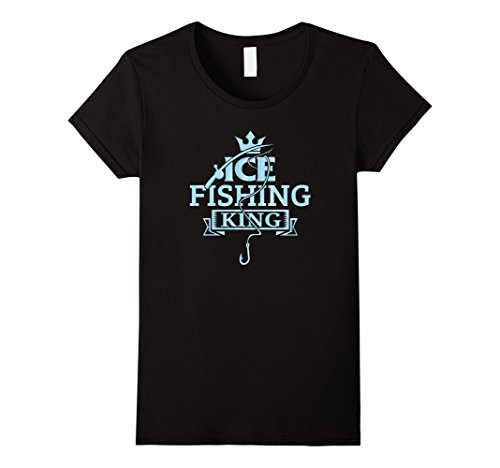 Womens Ice Fishing King Winter Outdoor Recreation T-Shirt Medium Black