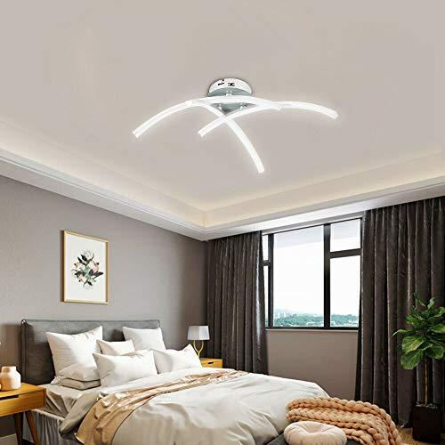 ALLOMN Luz de Techo del LED, Lámpara de Araña Luz de Techo de Diseño Curvo Moderno con 3 Luces Curvas Para Sala de Estar Dormitorio Comedor 18W (Blanco Frio)