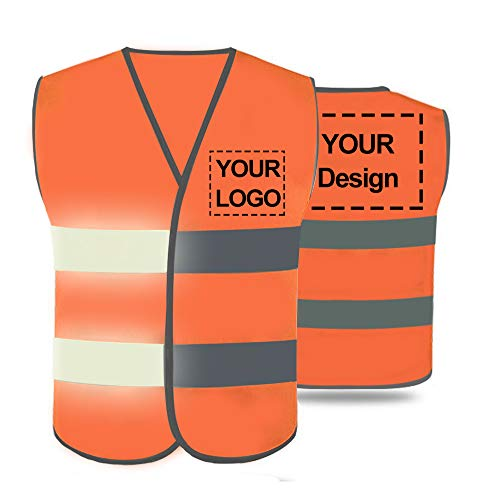 Kids High Visibility Safety Vest Custom Your Logo Children's Protective Workwear With Reflective Strips Construction Vest (Orange (S))
