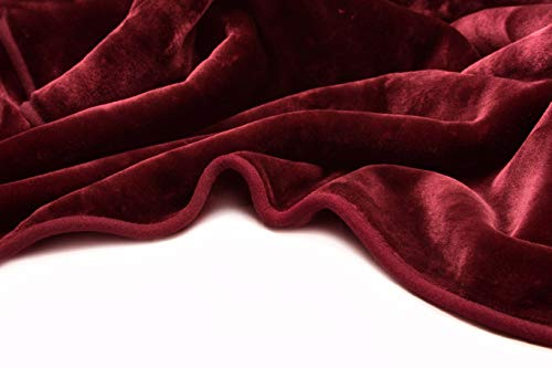 Vivalon Solid Color Ultra Silky Soft Heavy Duty Quality Korean Mink Reversbile Blanket 8 lbs Queen Burgundy