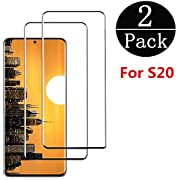 Tempered Glass Screen Protector Compatible Samsung Galaxy S20[6.2 Inch],[2-Pack][0.3mm,2.5D][Bubble-Free][9H Hardness][Easy Installation][HD Clear] Screen Protector Compatible Galaxy S20