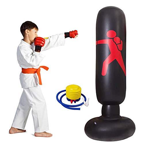 Lake Aufblasbarer Sport-Boxsack, Box-Fitness-Tasche Aufblasbarer freistehender Tumbler-Druckentlastung mit Fußluftpumpe Entlastungsdruck für Jugendliche Erwachsene, 63 Zoll (Schwarz)